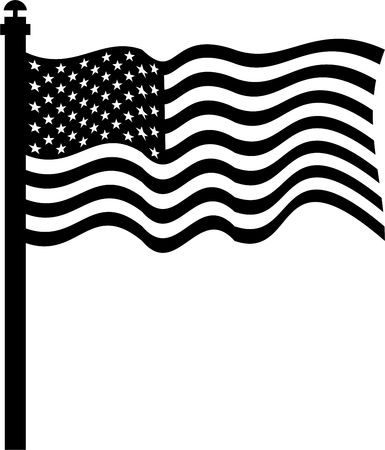flagpoles: isolated black and white drawing of the flag of the united states