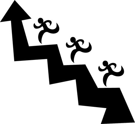 ambition: isolated black and white icon of a team of men chasing an upwards arrow to reach the top Stock Photo