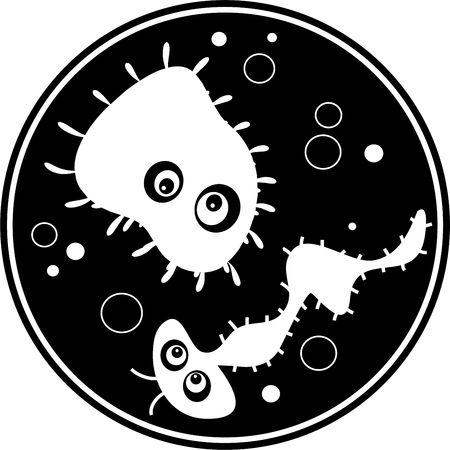esporas: aislados en blanco y negro de dibujos animados dibujo de bugs bacterias flotando en una caja de Petri