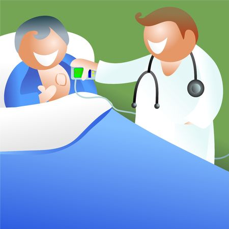 pacemaker: doctor visiting patient who has had a pacemaker fitted - icon people series