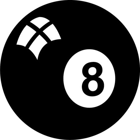 eightball: isolated black and white graphic of a eightball Stock Photo
