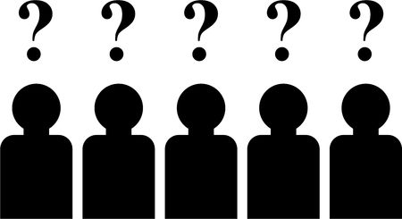 simple isolated icon design of a group of people with questions on their minds photo