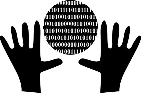 isolated black and white graphic of hands holding a binary globe representing internet connection photo