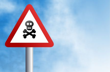 stop piracy: traffic warning sign with a skull and crossbones icon