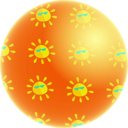 abstract concept illustration of the world covered in suns showing global warming Stock Illustration - 2724644