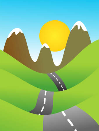 verdant: a quiet road running through hilly countryside with mountains in the distance