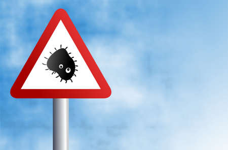 spores: warning deadly bacteria sign against a sky background Stock Photo