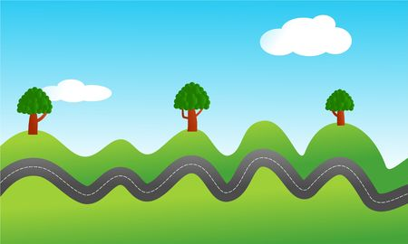 uphill: conceptual illustration of a bumpy road travelling through the countryside