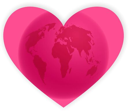 pink heart shape with world map isolated on white photo