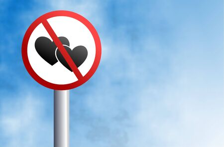 forbidden love: love not allowed signpost against a sky background