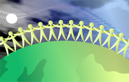 group of people linked together around the world in unity Stock Photo - 2893818
