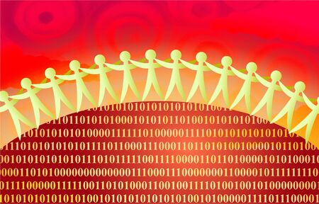 team of people linked together around a binary world in vivid red colors Stock Photo - 2893820