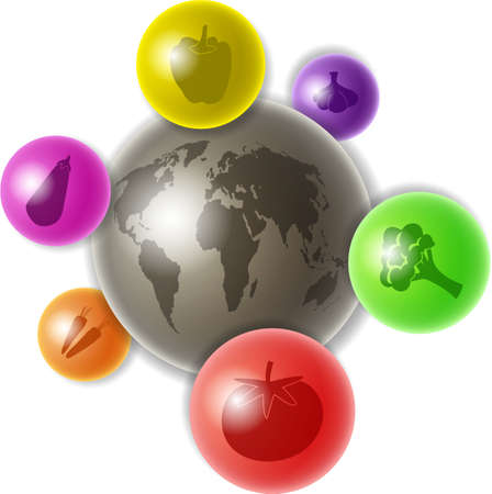 edibles: world globe surrounded by colourful spheres containing vegetable icons Stock Photo