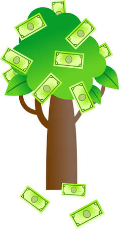 it is isolated: a simple tree with paper money growing on it isolated on white