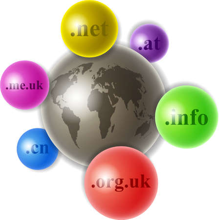 domain: world globe surrounded by smaller domain name spheres Stock Photo
