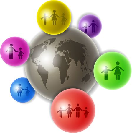 world connectivity: world globe surrounded by smaller spheres containing  related icons - showing single parents and couples with children Stock Photo