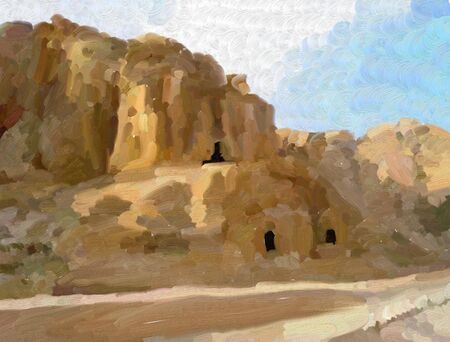 petra: abstract painting using large brush strokes of the ancient city of Petra in Jordan Stock Photo