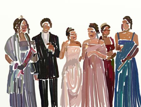 prom night: group of teenagers all dressed up on prom night drawn in loose digital crayon