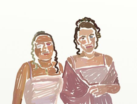 prom night: two teenage girls all dressed up for the prom - loose drawing style using digital crayon