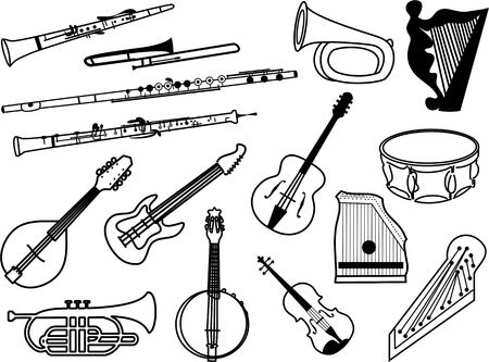 collection of musical instrument icons drawn in simple black line - clarinet, flute, oboe, drums, bugle, mandolin, guitar, cornet, harp, banjolin, zither, viola, psaltry, trombone