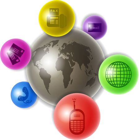 containing: world globe surrounded by smaller globes containing communication icons - concept illustration Stock Photo