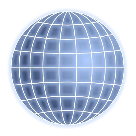 abstract blue globe with grid lines isolated on white Stock Photo - 2982849