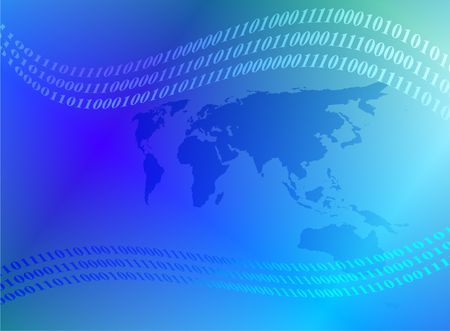 international internet: blue world map and binary code abstract background design