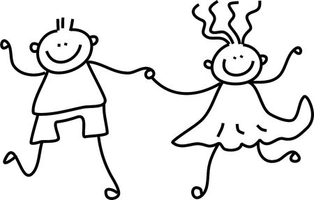 kids drawing: a little boy and girl holding hands - black and white line drawing