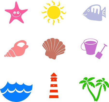 collection of simple isolated beach and marine shape icons Stock Photo - 3169731