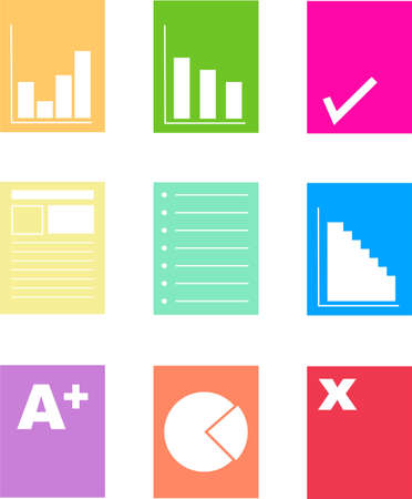 incorrect: collection of colorful paperwork and document icons isolated on white
