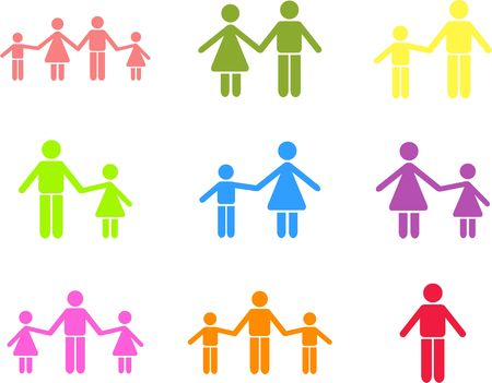 linked hands: collection of parent and family icon shapes isolated on white