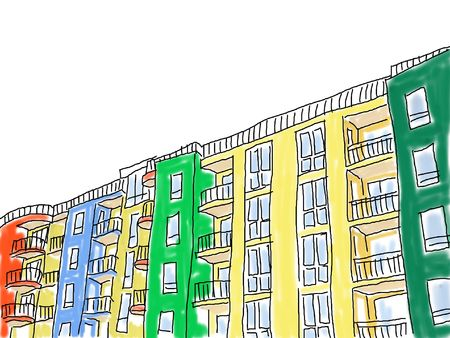 balcony window: loose abstract style drawing of an apartment block or hotels