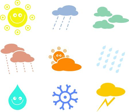 collection of seasonal and weather icon shapes isolated on white Stock Photo - 3228844
