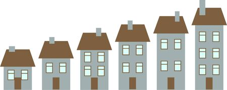 suburban street: row of houses growing bigger isolated on white - simple concept illustration