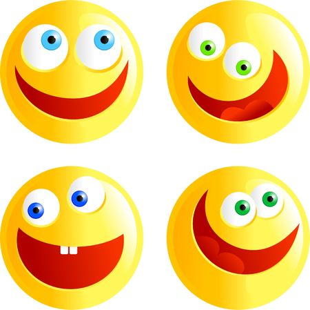 round face: set of yellow happy faced smilie emoticons isolated on white