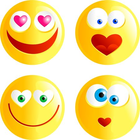 round face: set of funny faced cartoon emoticons with love heart shaped hearts or mouths