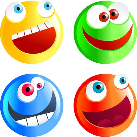 set of colourful cartoon smilie face emoticons