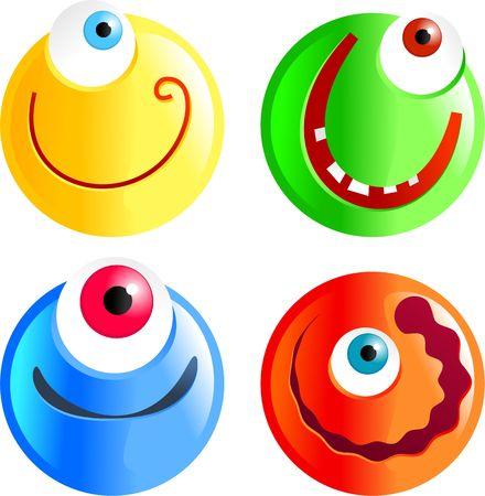 crazy cute: set of funny cartoon smilie face cyclops emoticons Stock Photo
