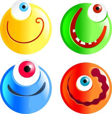 cyclops: set of funny cartoon smilie face cyclops emoticons Stock Photo