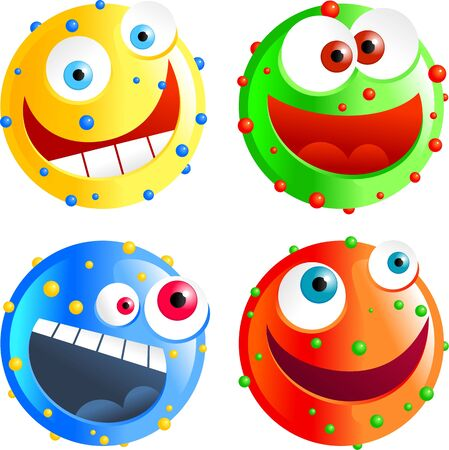 spotty: set of colourful funny cartoon spotty smilie emoticons