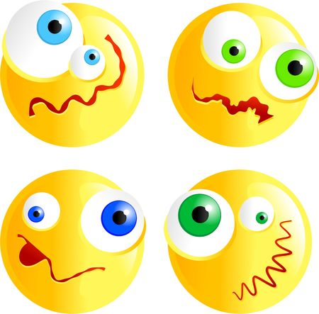 faced: set of funny faced confused smilie emoticons