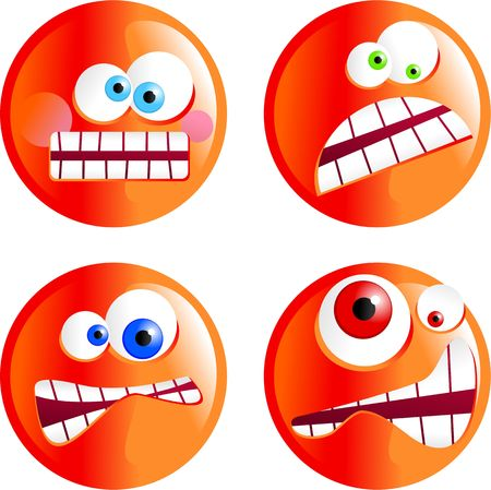 grimace: set of funny cartoon angy smilie emoticons