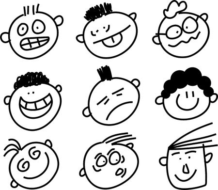 set of cartoon people pulling funny faces Stock Photo
