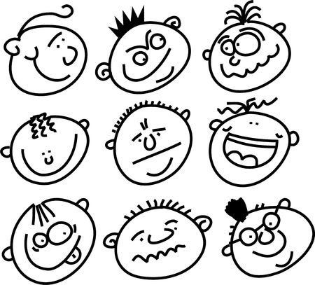 crowd of expressive funny whimsical cartoon faces