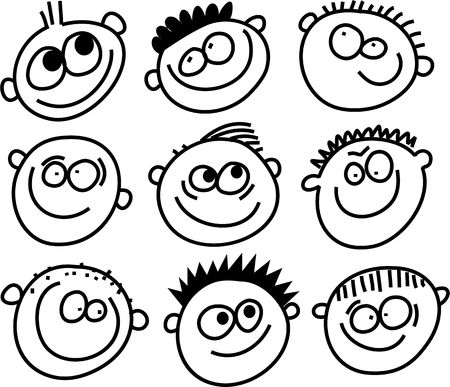 feelings and emotions: crowd of whimsical cartoon smiling faces isolated on white