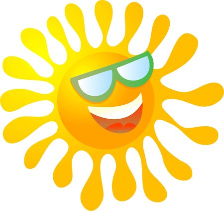 cool cartoon sun wearing sunglasses isolated on white photo