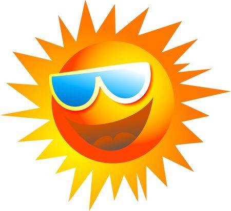sol caricatura: feliz de dibujos animados sol llevaba gafas de sol aislados en blanco
