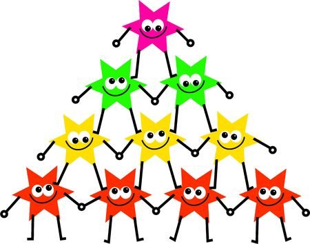 organised group: group of colourful cartoon star people forming a united tower of support