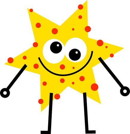 estrella caricatura: divertidos dibujos animados estrella hombre con cara con manchas  Foto de archivo