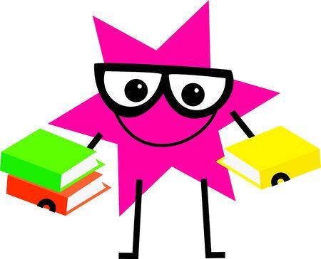 estrella caricatura: divertida forma de dibujos animados estrella llevaban gafas y llevar libros